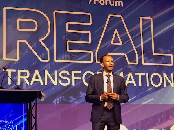 Surafeal speaks at Dell Technologies' Real Transformation Forum in 2019.